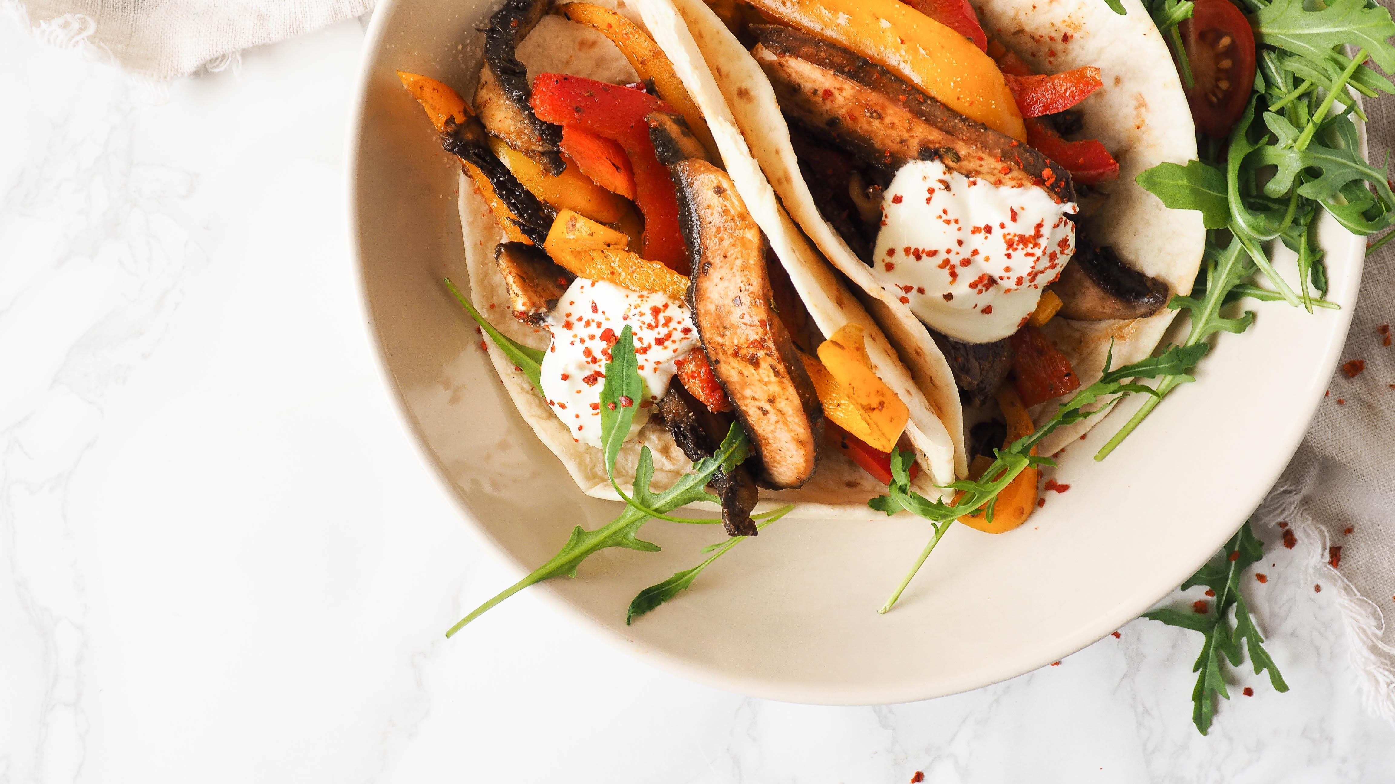 Recept: Vegan portobello fajitas