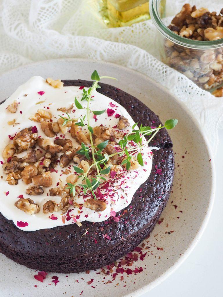 Chocolade cake met walnoot olie
