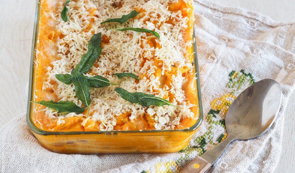 Recept: Pompoen lasagne met gefrituurde salie