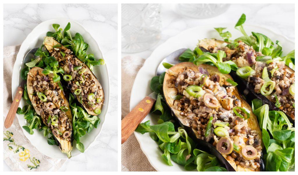 Recept: Gevulde aubergine met linzen en quinoa