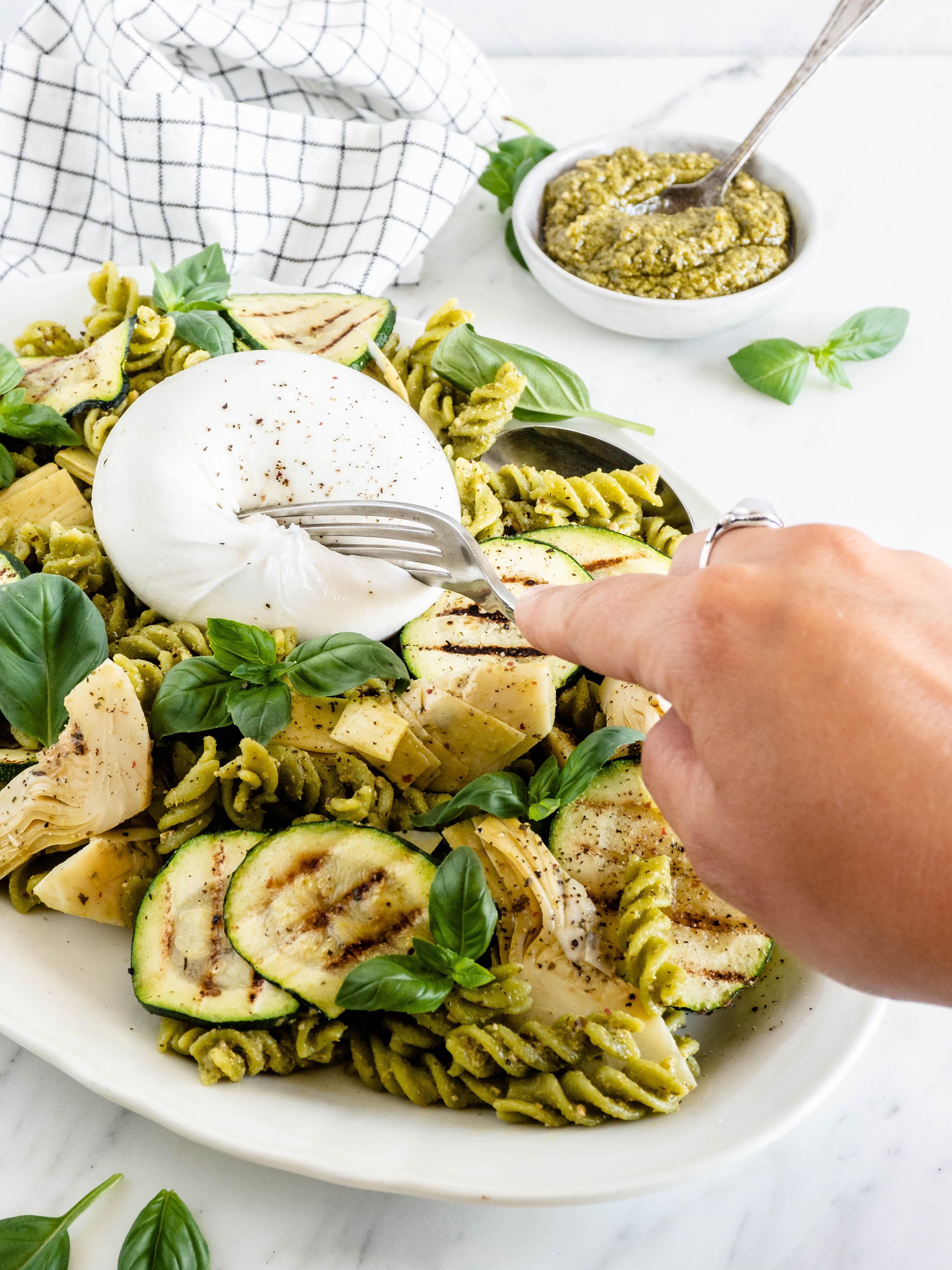 pastasalade met burrata
