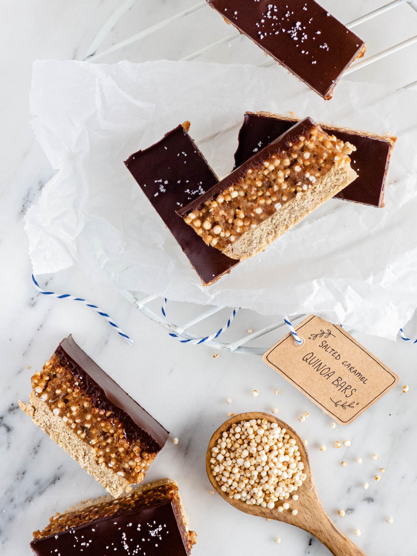 salted caramel quinoa bars