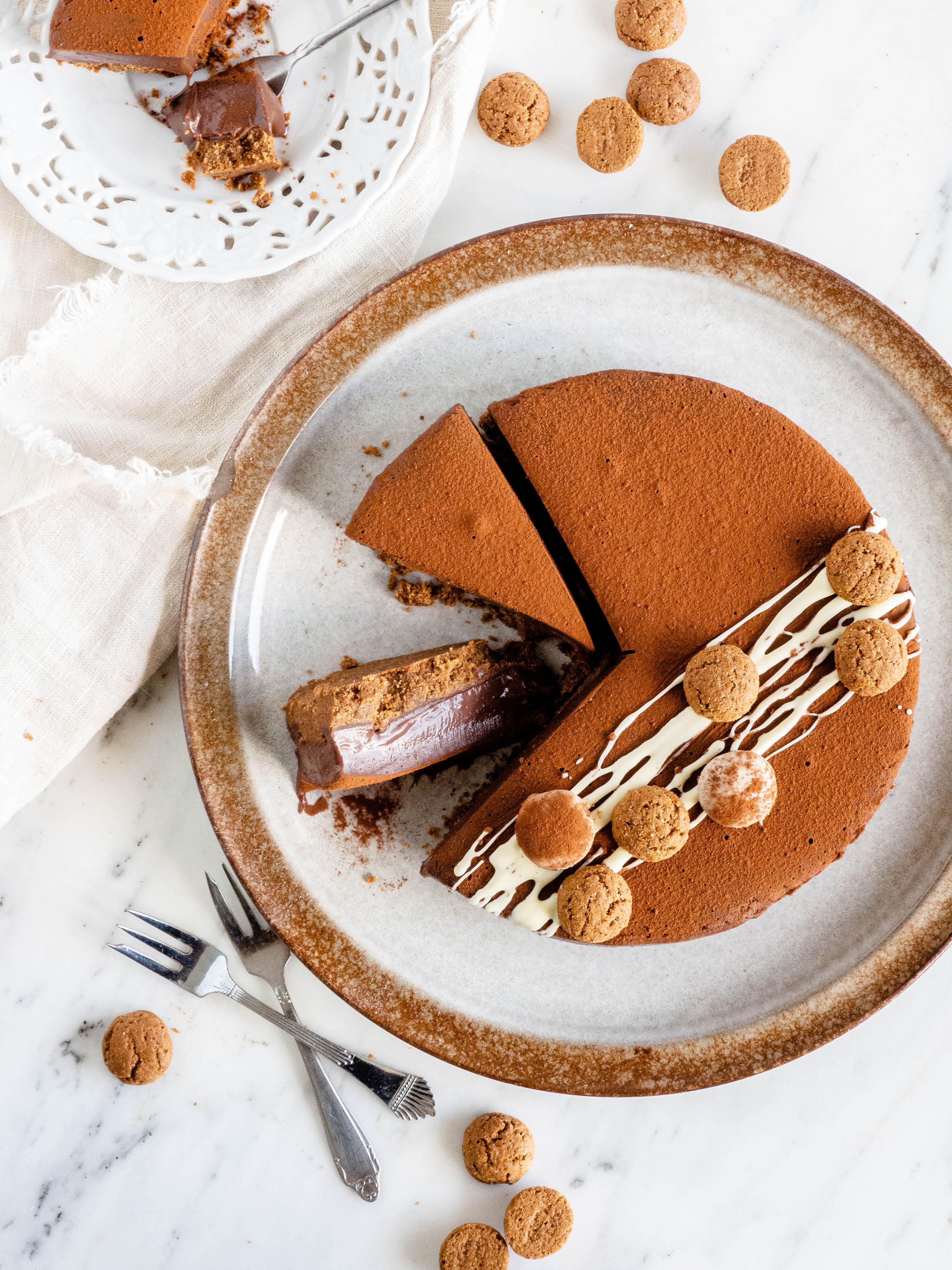 chocolade pepernoten taart