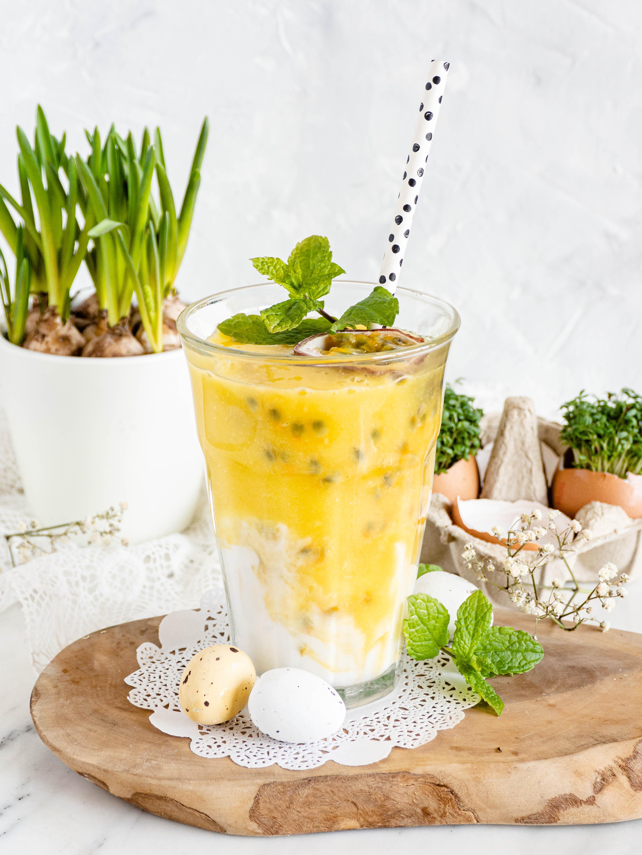 paassmoothie met mango en passievrucht