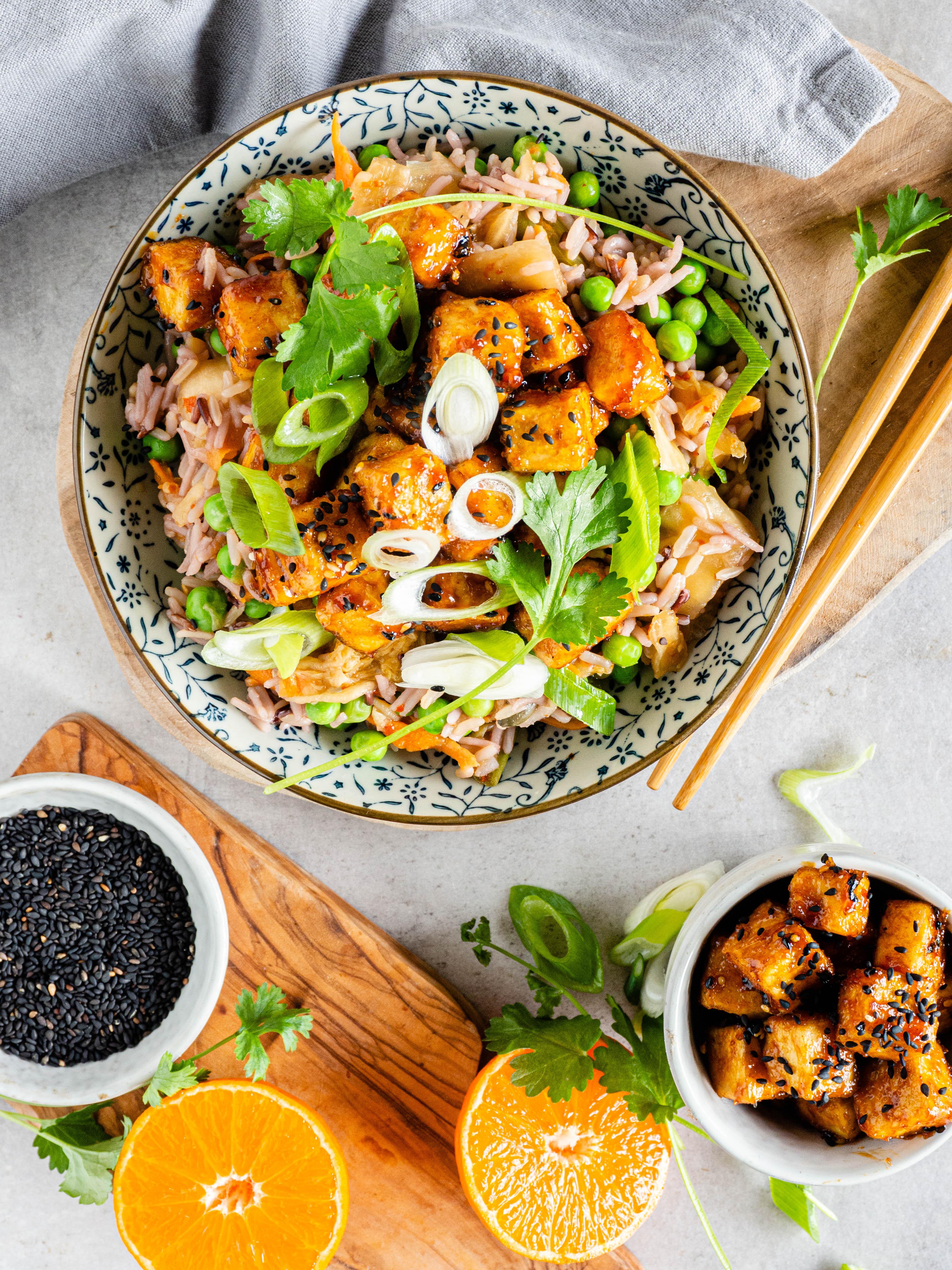 Tofu met mandarijn marinade