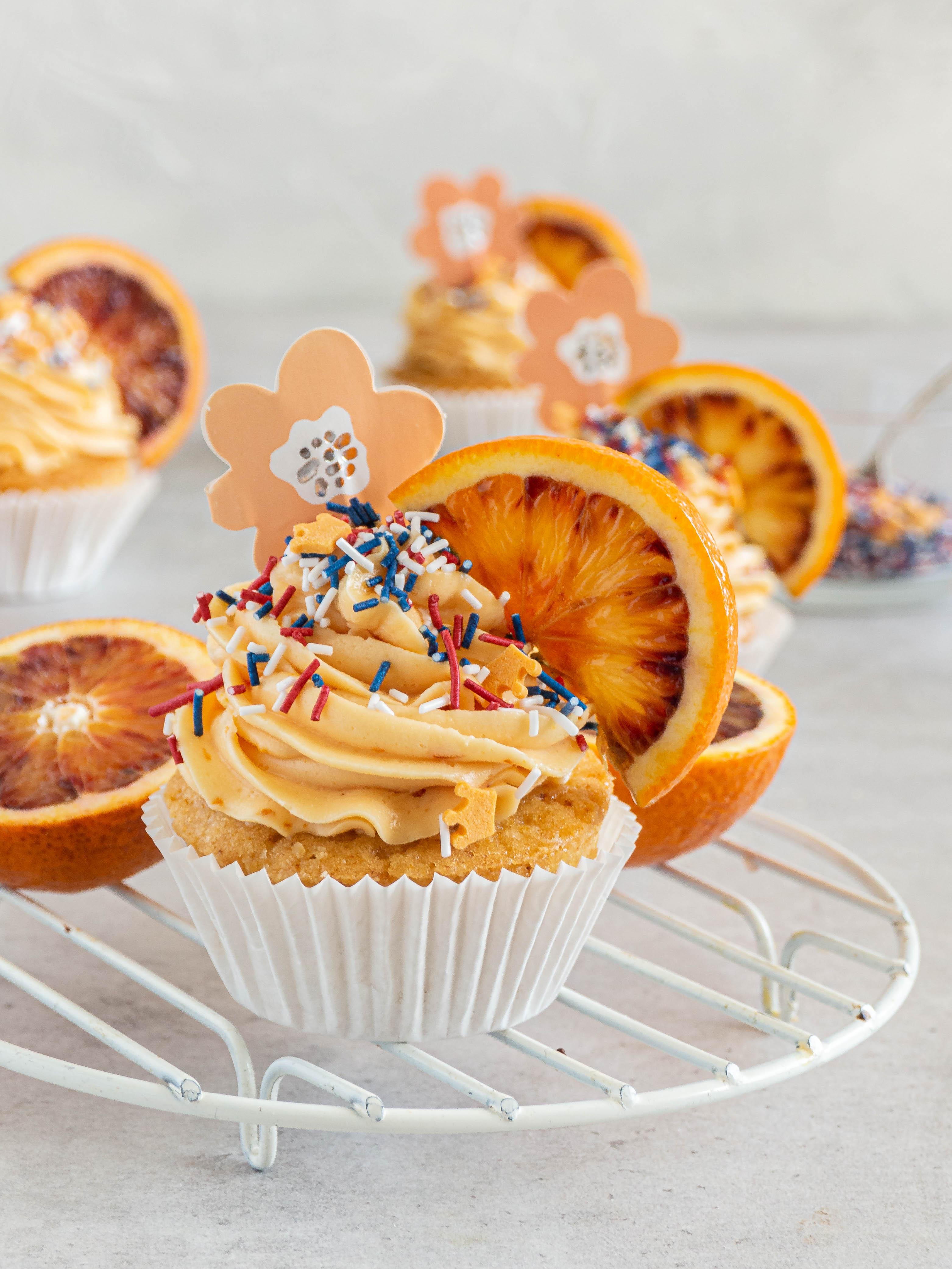 Bloedsinaasappel cupcakes