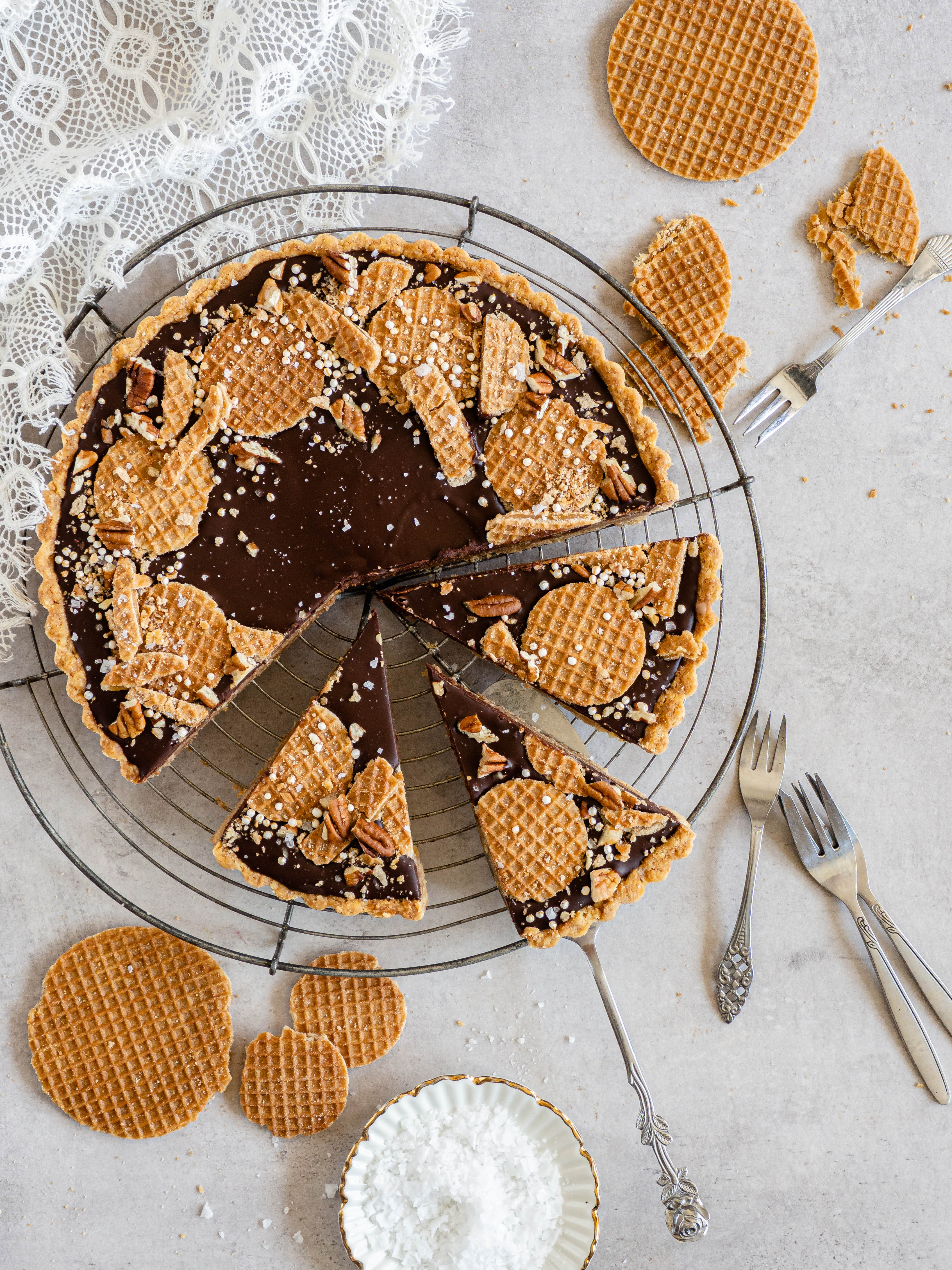 Chocolade stroopwafel taart