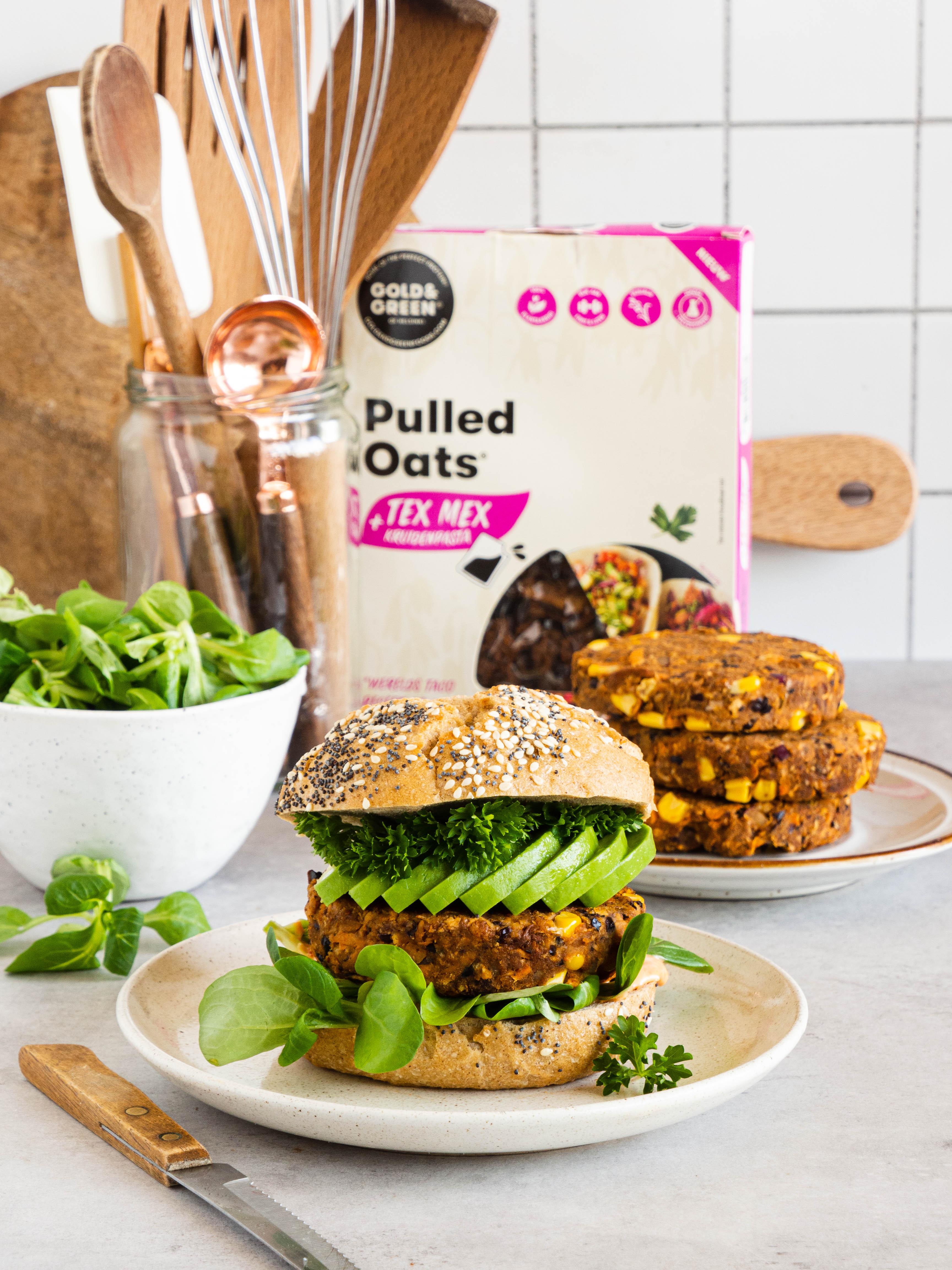burgers met pulled oats